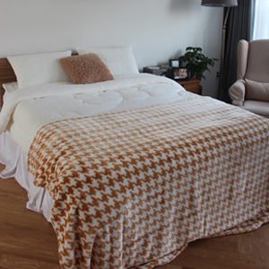 hound tooth check blanket_beige