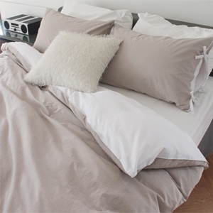 Natural wahing beige bedding set / 천연염색 워싱면100%