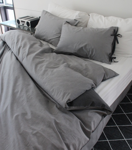 Natural wahing gray bedding set / 천연염색 워싱면100%